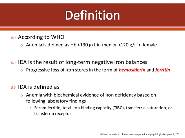 Iron Deficiency Anaemia : Definition, Iron Metabolism, Causes, Clinical and Lab Findings, Treatment